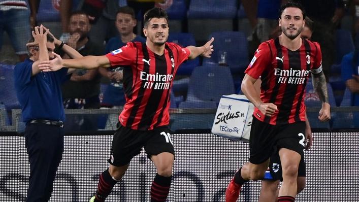 Brahim Diaz celebrates opening the scoring for Milan