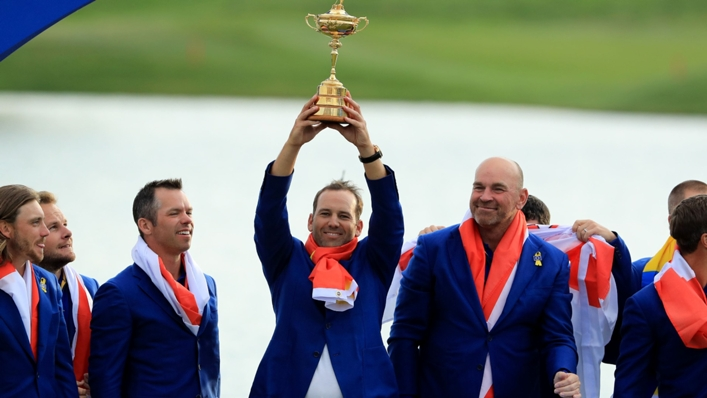 Sergio Garcia lifts the Ryder Cup in 2018