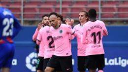 Barcelona forward Antoine Griezmann celebrates his goal against Eibar