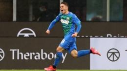 Giacomo Raspadori celebrates at San Siro