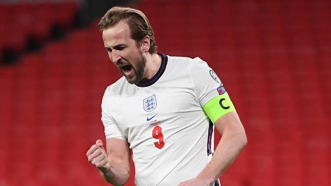 Harry Kane celebrates scoring for England against Poland