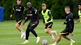 Romelu Lukaku and Timo Werner in Chelsea training