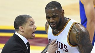 Tyronn Lue (left) and LeBron James (right).