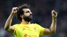 Mohamed Salah celebrates scoring his second goal against Atletico Madrid