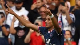 Kylian Mbappe celebrates against Clermont