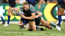 Reece Hodge scores Australia's opening try against Argentina
