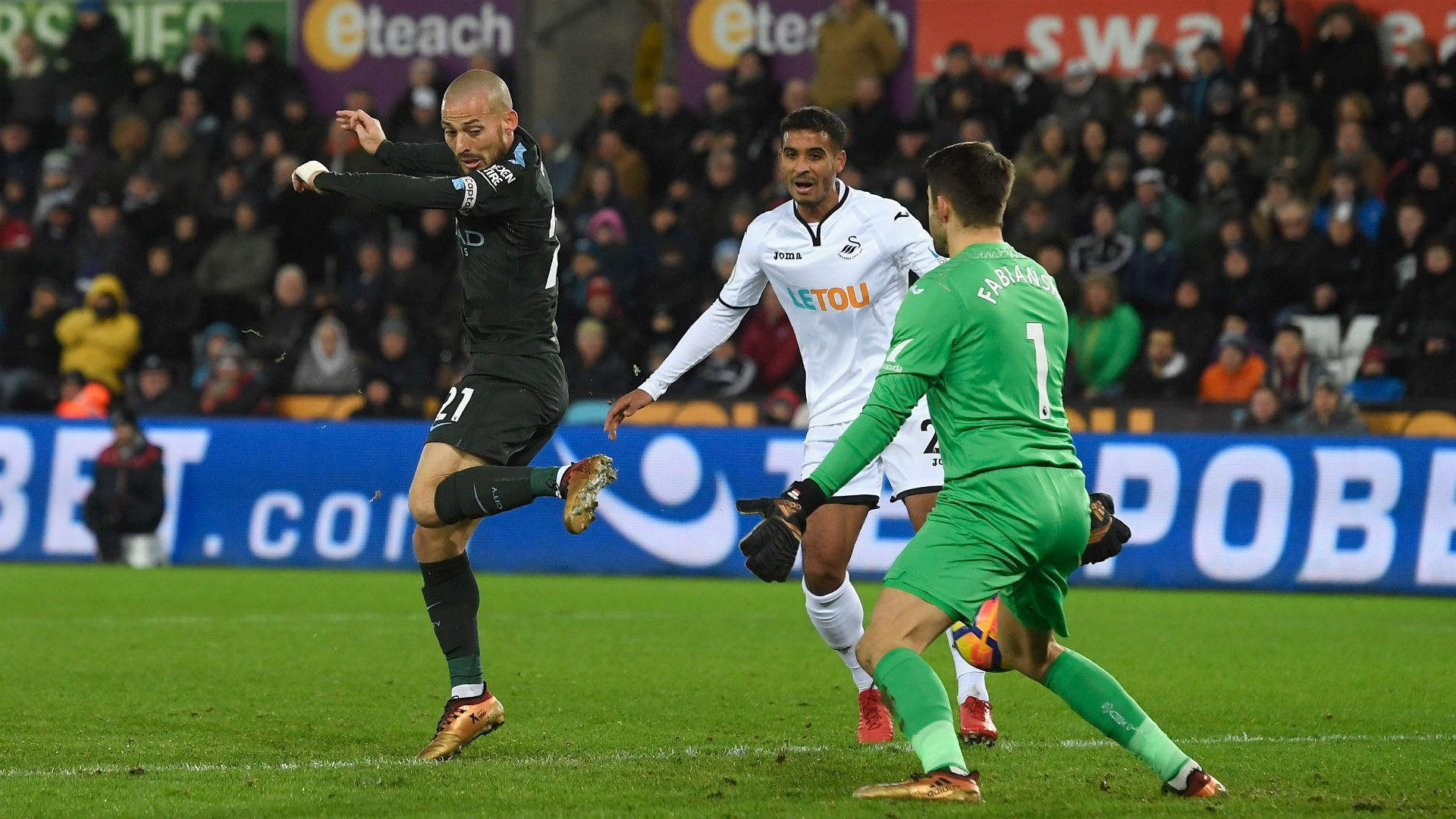 BPL: Swansea City 0 Manchester City 4 - Silva sparkles as Guardiola's record-breakers march on