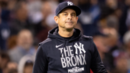 Manager Aaron Boone of the New York Yankees reacts
