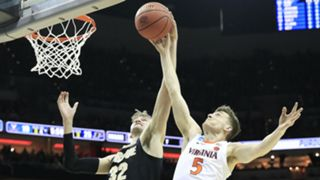Virginia's Kyle Guy battles Purdue's Matt Haarms