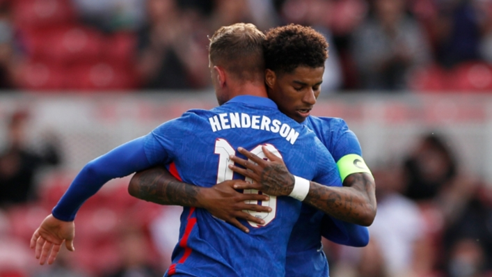 Marcus Rashford and Jordan Henderson celebrate the forward's penalty goal