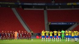 Brazil and Venezuela prior to their Copa America match