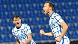 Inter's Christian Eriksen (right) celebrates his goal against Crotone