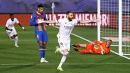 Karim Benzema celebrates a goal against Barcelona