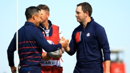 Xander Schauffele (left) and Patrick Cantlay (right) celebrate during their foursomes match