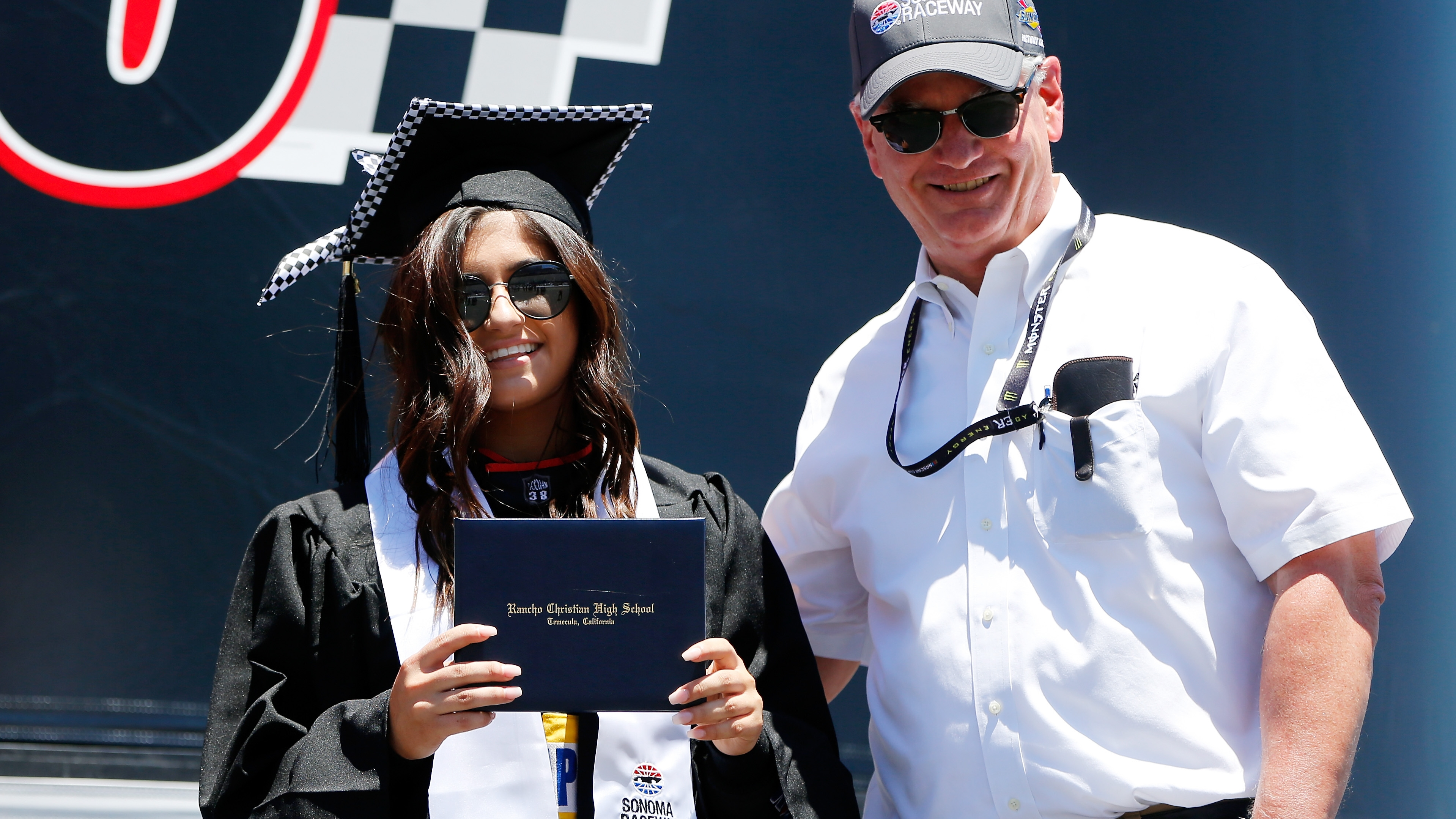 NASCAR driver Hailie Deegan has her HS graduation at track just before racing