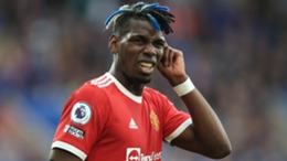 Paul Pogba was dejected after Manchester United lost to Leicester City