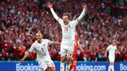 Denmark's Mikkel Damsgaard celebrates his strike against Russia