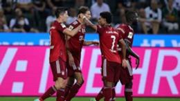 Bayern Munich's Robert Lewandowski celebrates his equaliser