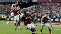 Michail Antonio celebrates after opening the scoring for West Ham against Tottenham