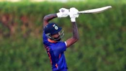 Hardik Pandya bats in a warm-up match against  Australia