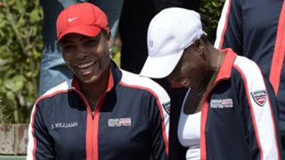 Serena (left) and Venus Williams at the Fed Cup