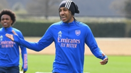 Pierre-Emerick Aubameyang in training with Arsenal.