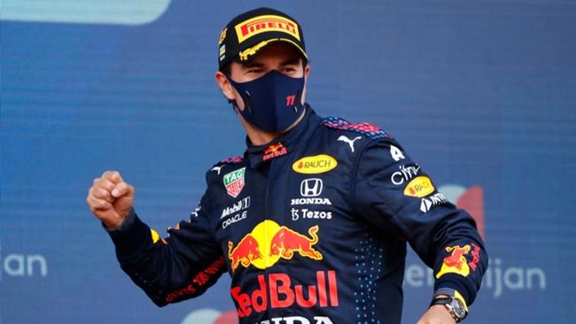 Sergio Perez celebrates in Baku