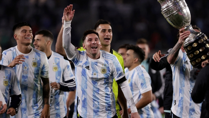 Lionel Messi and Argentina celebrate after beating Bolivia