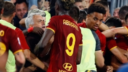 Jose Mourinho celebrates Roma's last-gasp win with the club's fans