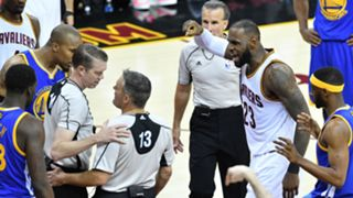 Officials huddle in Game 4