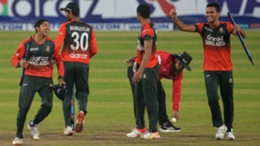 Bangladesh celebrate their victory over Australia in the fifth T20I