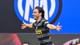 Inter's Matteo Darmian celebrates his goal against Hellas Verona