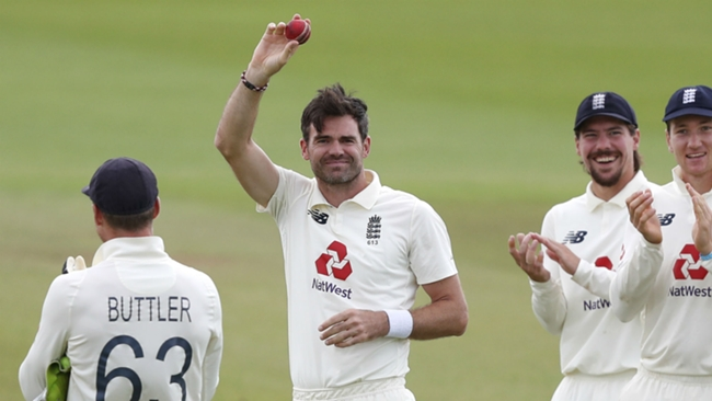 James Anderson celebrates his 600th Test wicket