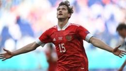 Aleksey Miranchuk celebrates his goal against Finland