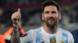 Lionel Messi of Argentina greets fans after a match between Argentina and Uruguay as part of South American Qualifiers for Qatar 2022