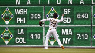 Andrew McCutchen and the new PNC Park scoreboard