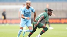 Riyad Mahrez was influential as Man City beat Barnsley 4-0