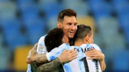 Lionel Messi celebrates with his Argentina team-mates