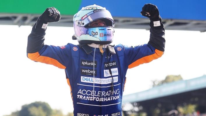 Daniel Ricciardo celebrates winning the Italian Grand Prix
