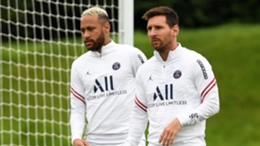 Neymar and Lionel Messi in PSG training