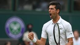 Novak Djokovic celebrates during his match with Jack Draper