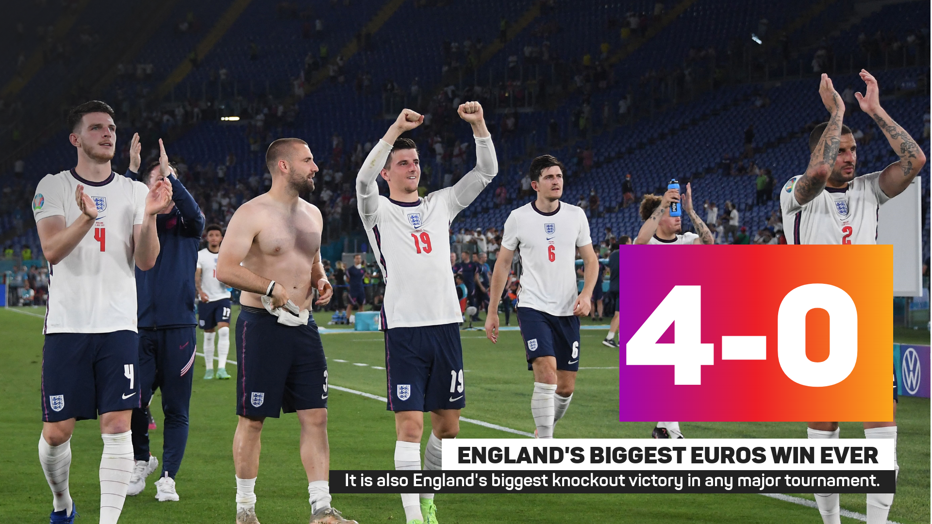 England recorded their biggest ever Euros win against Ukraine
