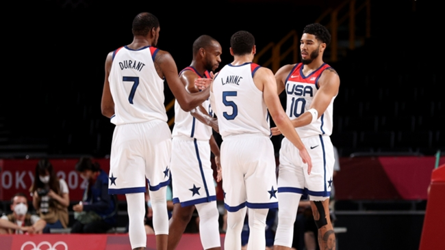 Jayson Tatum with Kevin Durant and his Team USA team-mates