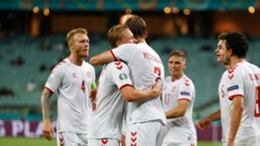 Denmark celebrate their second goal in Baku