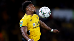 Adama Traore of Wolverhampton Wanderers controls the ball during the Carabao Cup Third Round match between Wolverhampton Wanderers and Tottenham Hotspur