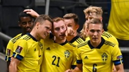 Sweden celebrate Viktor Claesson's second-half goal against Spain.
