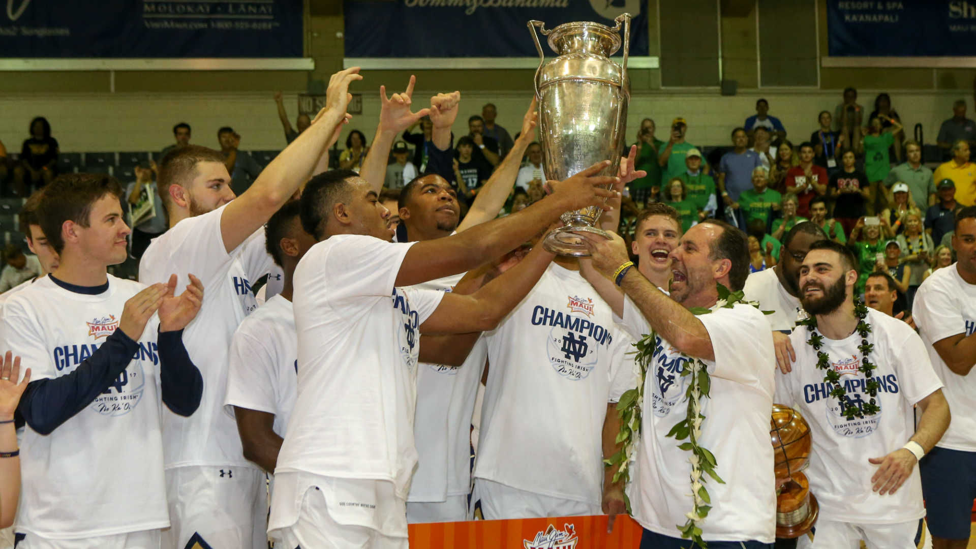 WATCH: Try to unsee shirtless Mike Brey celebrating Maui title