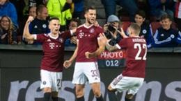 David Hancko celebrates with his Sparta Prague team-mates