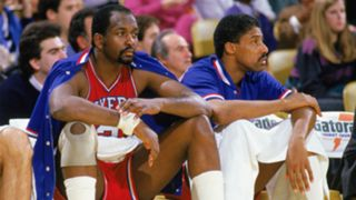 Moses Malone, left, with Julius Erving