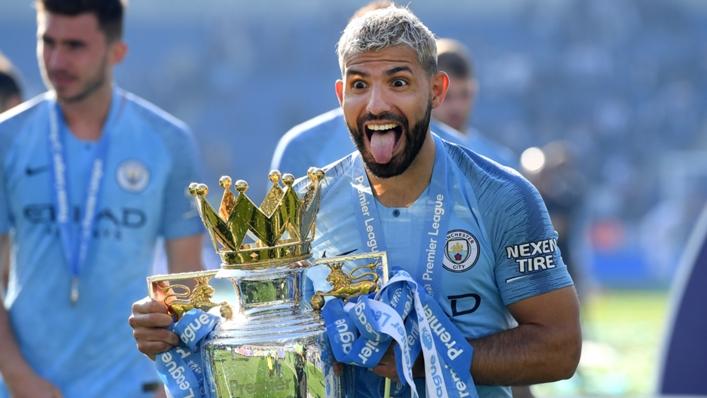 Sergio Aguero with the Premier League trophy